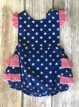 Patriotic ruffled one piece 3-6m