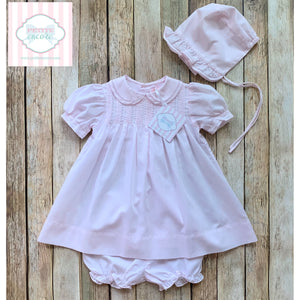 Smocked dress with bonnet by Petit Ami 3m