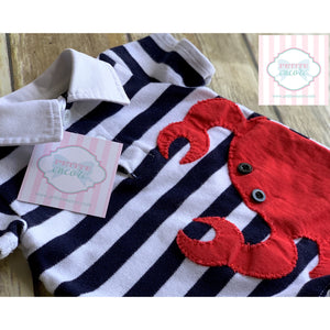 Mud Pie crab themed one piece 0-6m