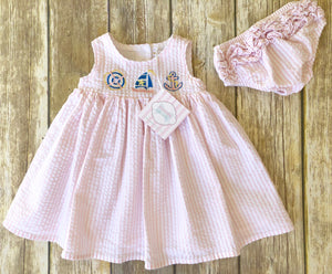 Nautical themed dress 0-3m
