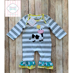 Cow themed ruffled one piece 6m