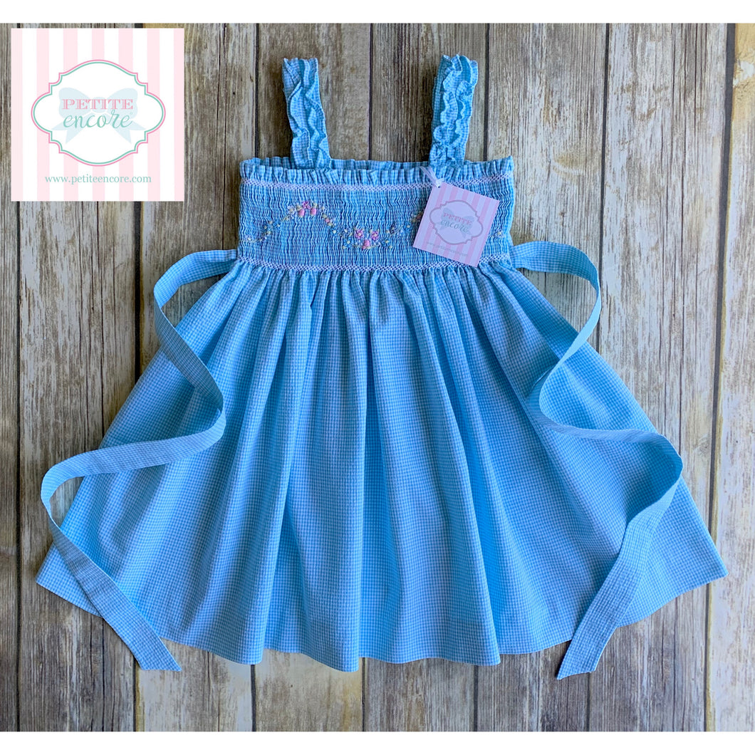 Blue floral smocked dress 2T