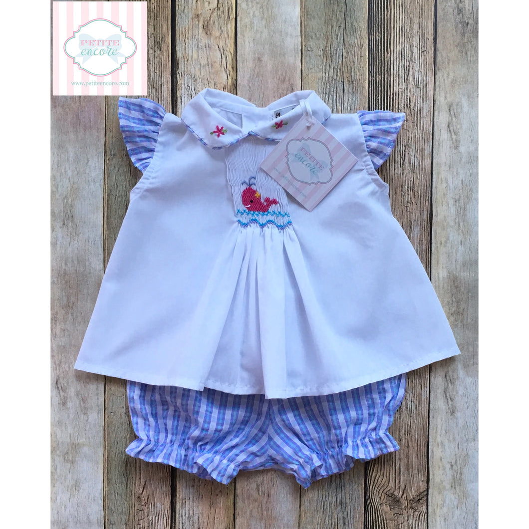 Whale themed smocked two piece 6m
