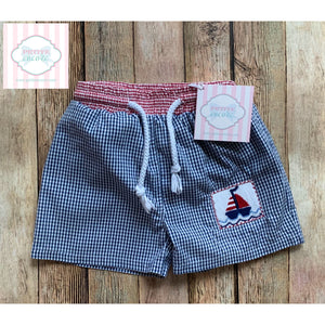 Smocked swim trunks by Silly Goose 12m
