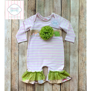 Ricrac and Ruffles one piece 6-9m