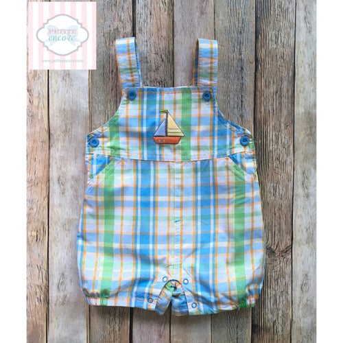 Sailboat themed overalls 6-9m