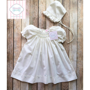 Petit Ami gown and bonnet NB