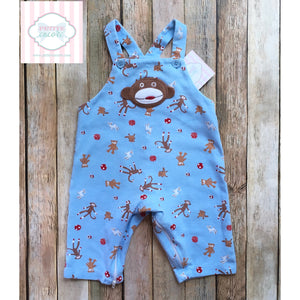Sock monkey themed overalls by New Potatoes 3m