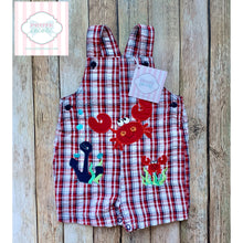 Crab themed overalls 3-6m
