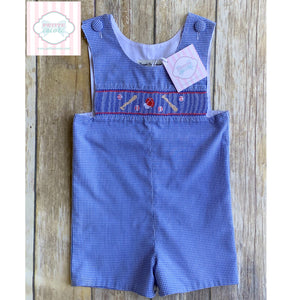 Baseball themed smocked one piece 18m