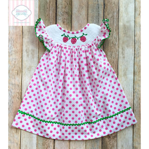 Strawberry themed smocked dress 6m