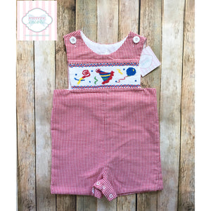 Smocked birthday themed one piece 12m
