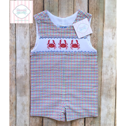 Crab themed smocked one piece 12m