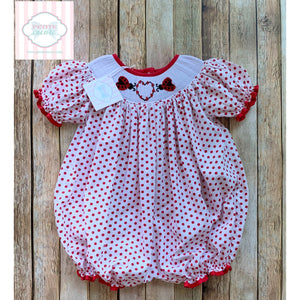 Valentine smocked bubble by Periwinkle Parasol 18m