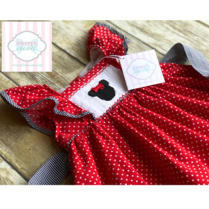 Smocked Minnie themed dress by Babeeni 6m
