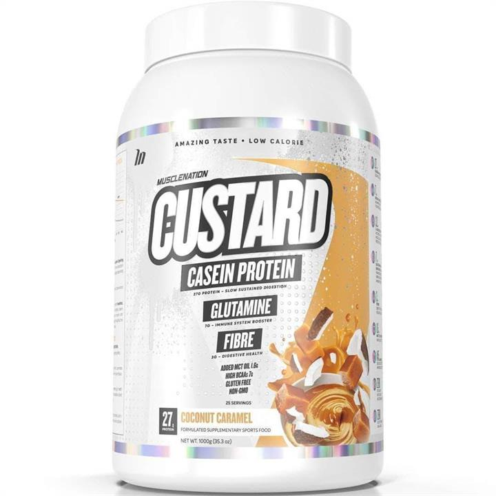 Muscle Nation Custard IN STOCK NOW Protein Powder Coconut Caramel 1kg At Elite Supps