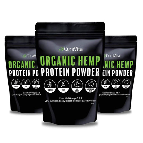 Image of bundle of 3 organic hemp protein pouches