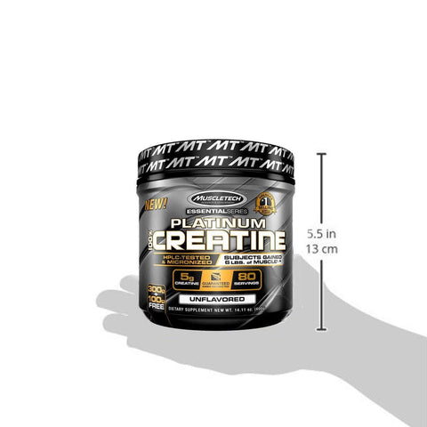 Image of MuscleTech Platinum 100% Creatine Ultra-Pure Micronized Creatine Powder Unflavored 14.11 Oz (400 Grams)-Curavita