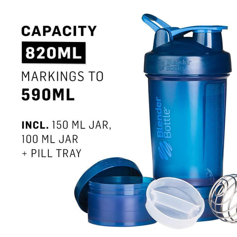 Image of Blender Bottle ProStak Full Colour Shaker Bottle, Navy, 650 ml Capacity-Curavita