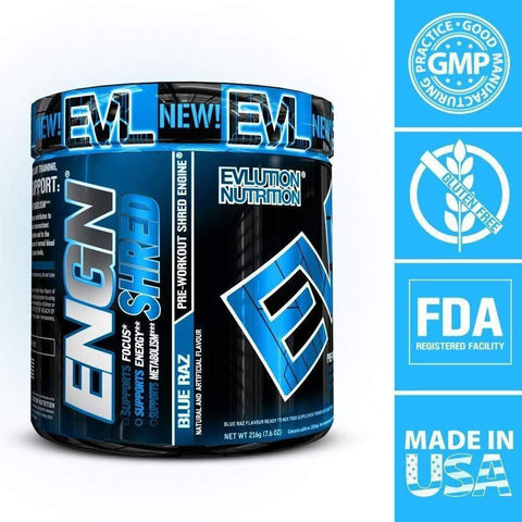 Evlution Nutrition ENGN SHRED Pre Workout Thermogenic Fat Burner (Blue Raz)-Curavita