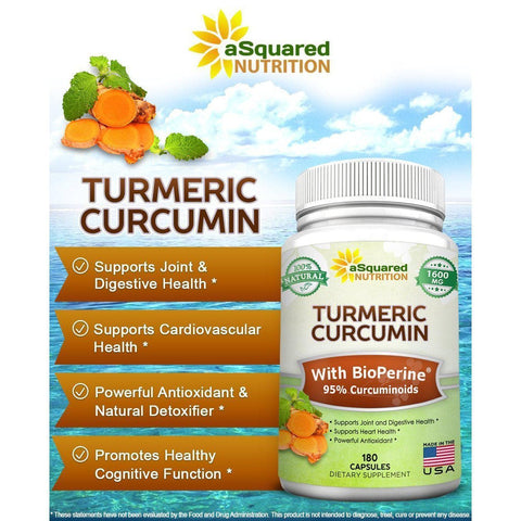 Image of Pure Turmeric Curcumin 1600mg with BioPerine Black Pepper Extract - 180 Capsules-Curavita