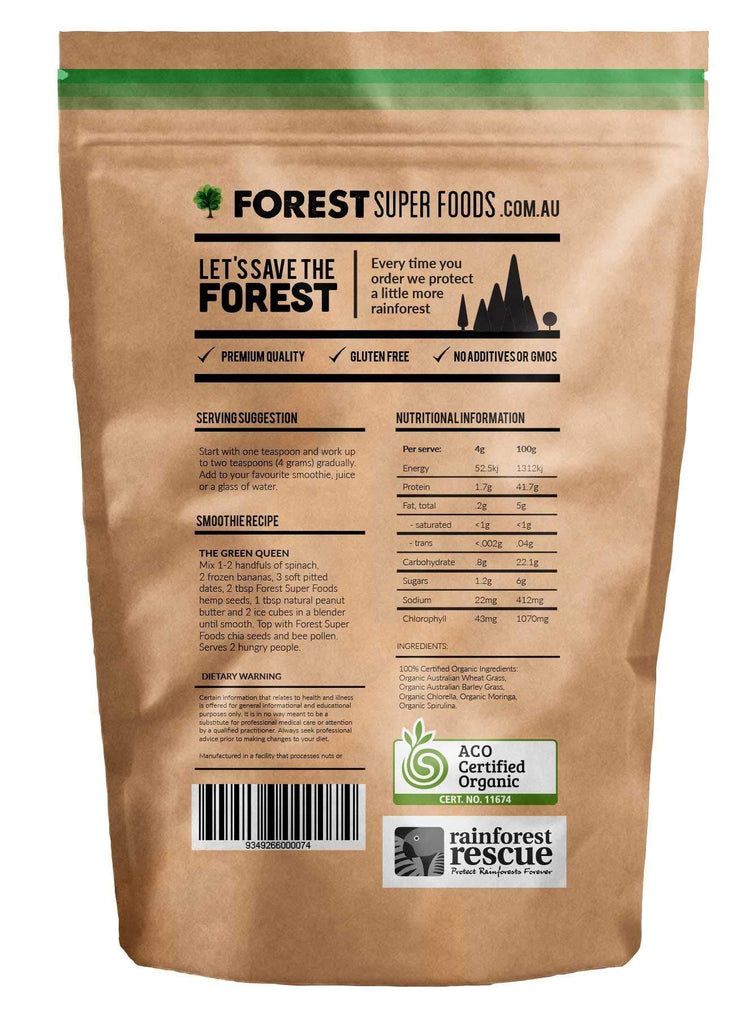 Forest Super Foods #1 Certified Organic Naked Greens 500g (60 day supply)-Curavita