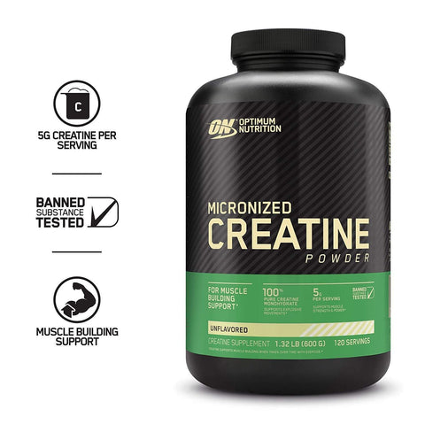 Image of Optimum Nutrition Creatine Powder, Unflavored, 600g-Curavita