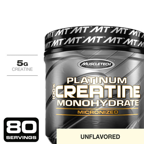 MuscleTech Platinum 100% Creatine Ultra-Pure Micronized Creatine Powder Unflavored 14.11 Oz (400 Grams)-Curavita