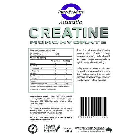 Image of Pure Product Australia Creatine Monohydrate (Unflavour) (1KG)-Curavita