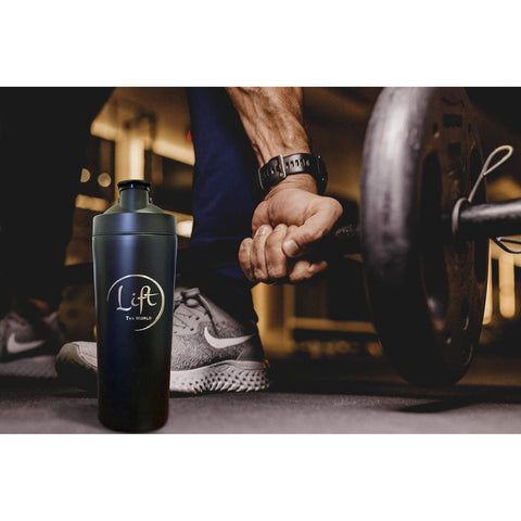 Image of Lift Stainless Steel Sports Water Bottle Protein Shaker, Gym Fitness Workout, BPA Free, Carry Handle with Blender Ball, 750 mL (25oz)-Curavita