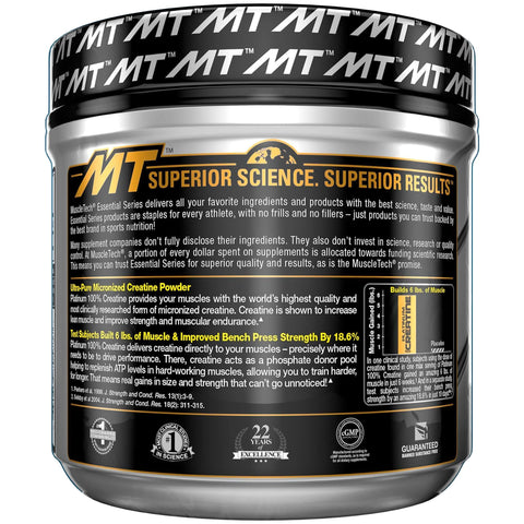 MuscleTech Platinum 100% Creatine Ultra-Pure Micronized Creatine Powder Unflavored 14.11 Oz (400 Grams)