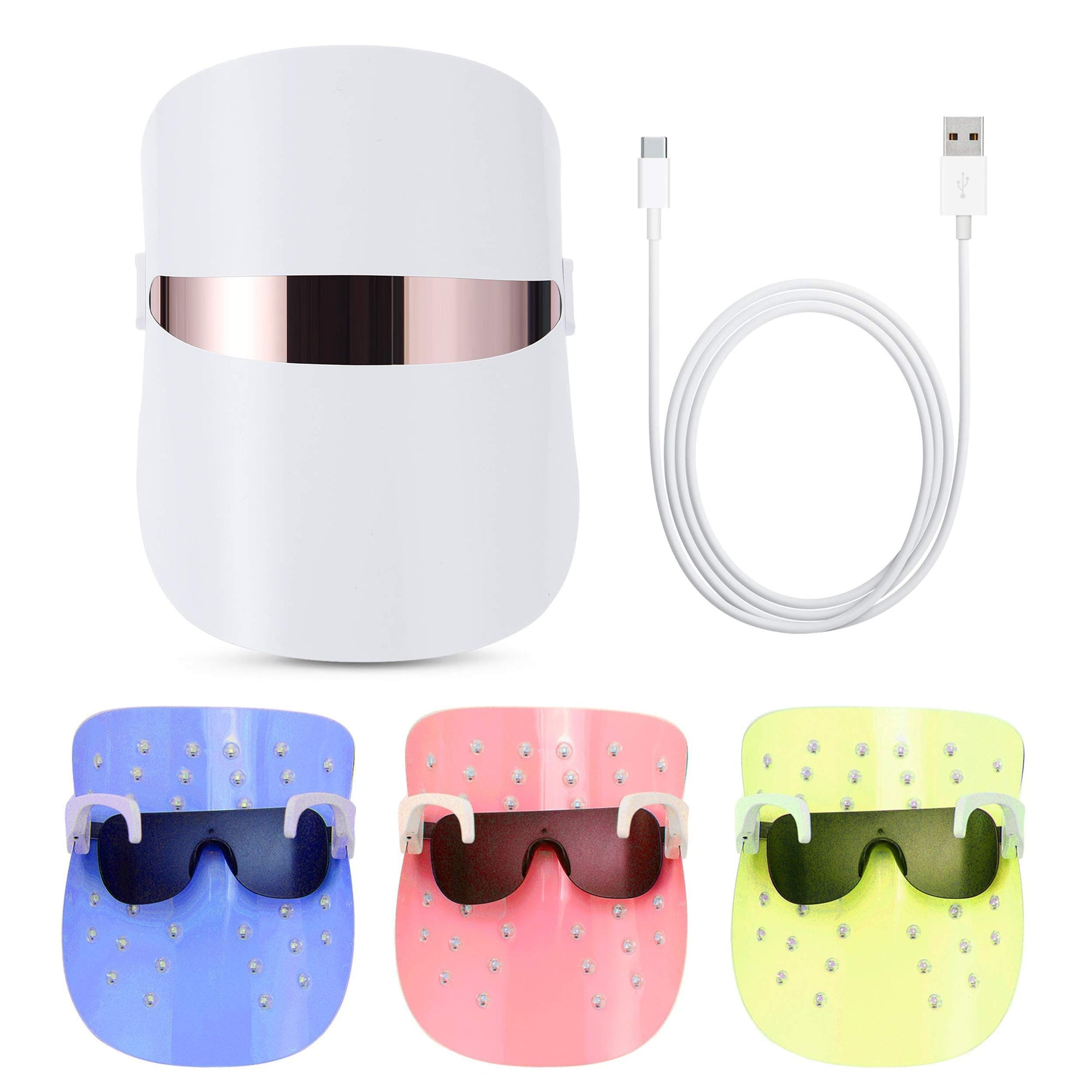 Red Light Therapy LED Face Mask 3 Color Clear Mask | LED Mask Therapy Facial Photon For Healthy Skin Rejuvenation
