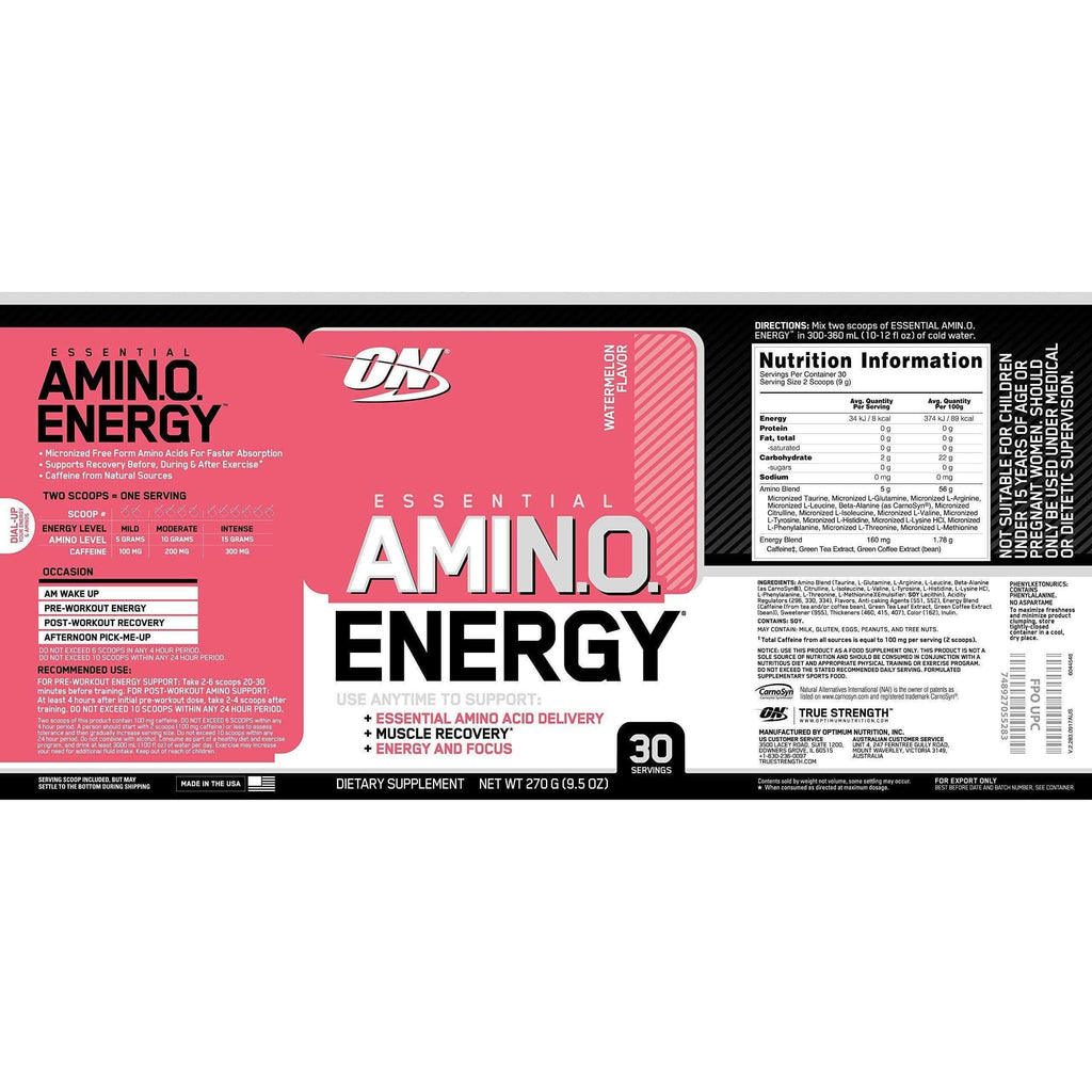 Amino Energy Watermelon Anytime Energy Optimum Nutrition - 30 Servings-Curavita