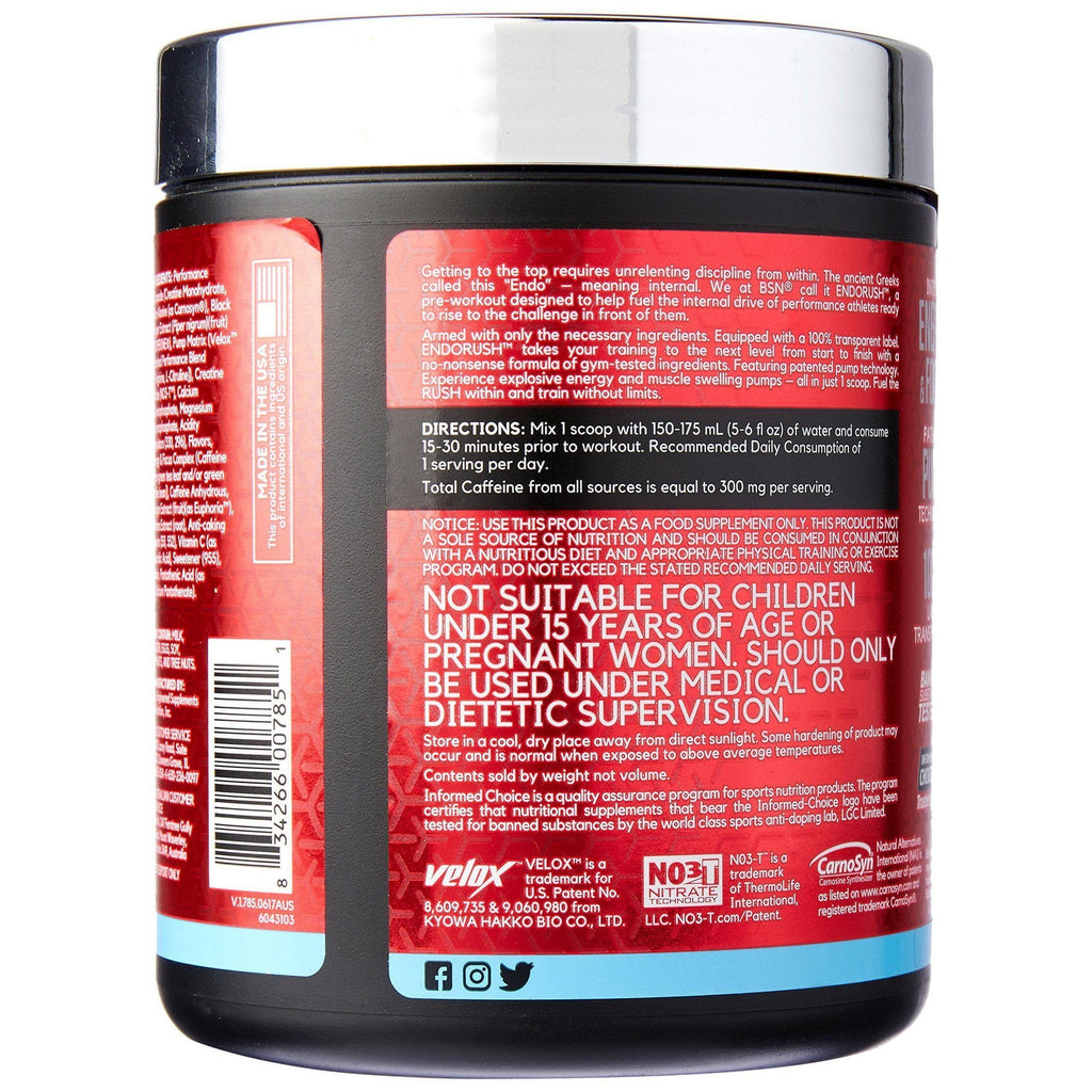 BSN Endorush Blue Raspberry Pre Workout, 390 Grams