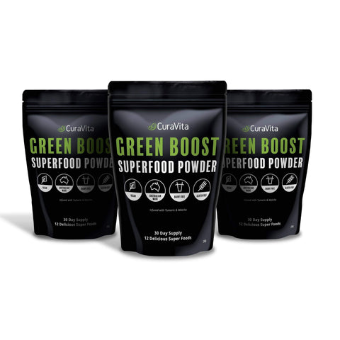 Image of 3 pack of curavita super green powder