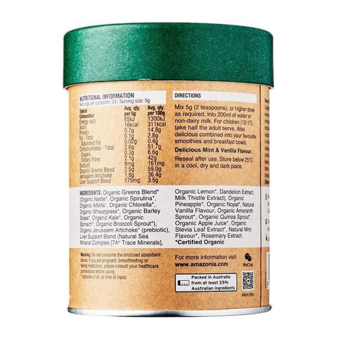 Image of amazonia raw greens back label