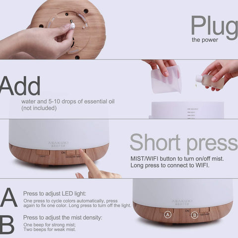Image of ASAKUKI Smart Wi-Fi Essential Oil Diffuser-Curavita