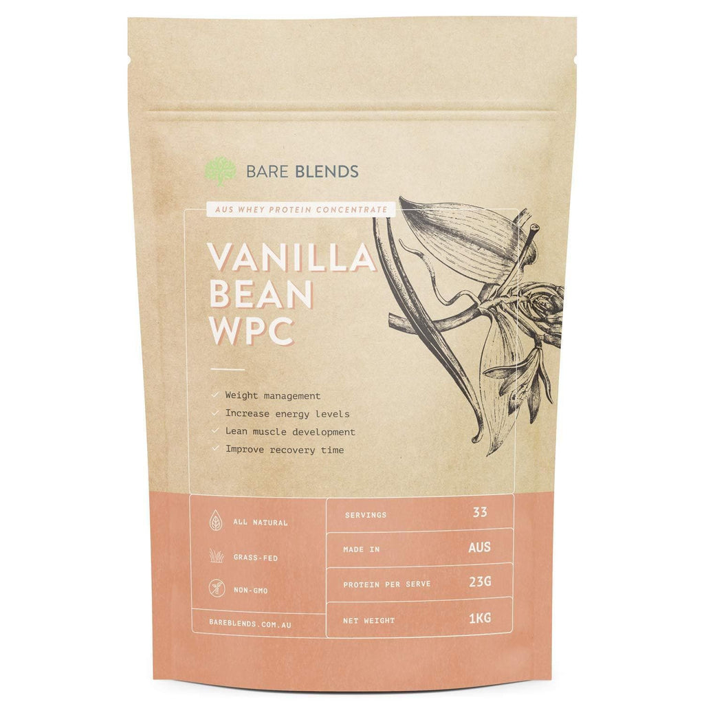Bare Blends - Natural Whey Protein Concentrate with Vanilla Bean 1kg-Curavita
