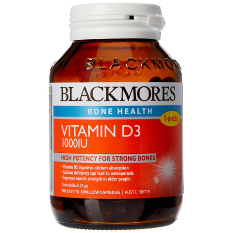 Image of jar of blackmores vitamin D3 capsules