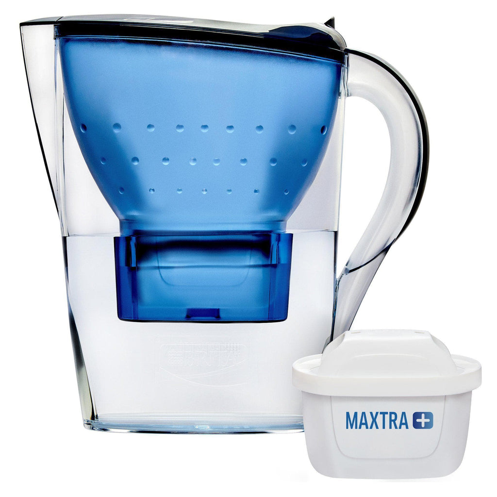 BRITA Blue 2.4L Water Filter Jug - Marella with: in-Built LED Electronic Indicator & MAXTRA+ Filter Cartridge-Curavita