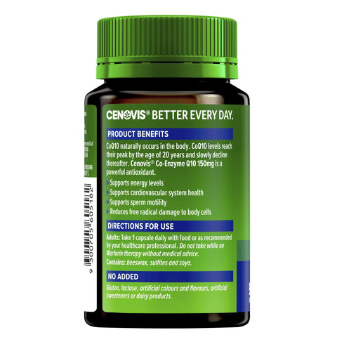 Cenovis Co-Enzyme Q10 150mg - A powerful antioxidant - Supports energy levels - Supports heart health-Curavita