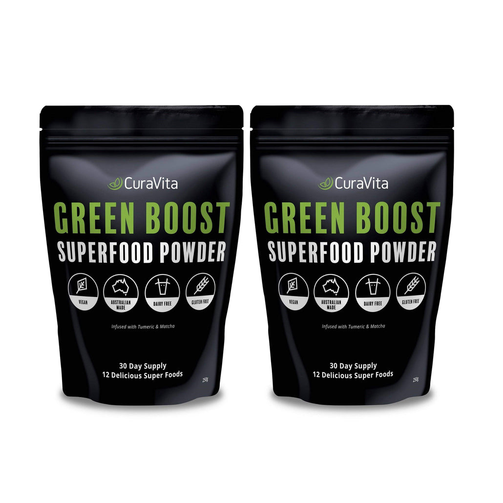 2 x Curavita Green Boost Super Green Powder - Save 15%