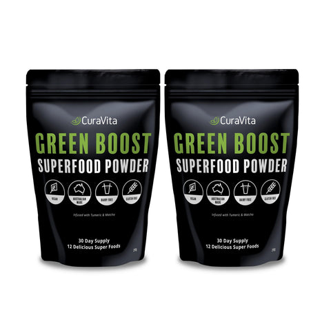Image of Curavita Organic Super Greens Powder - Raw Green Juice - 12 Delicious Ingredients