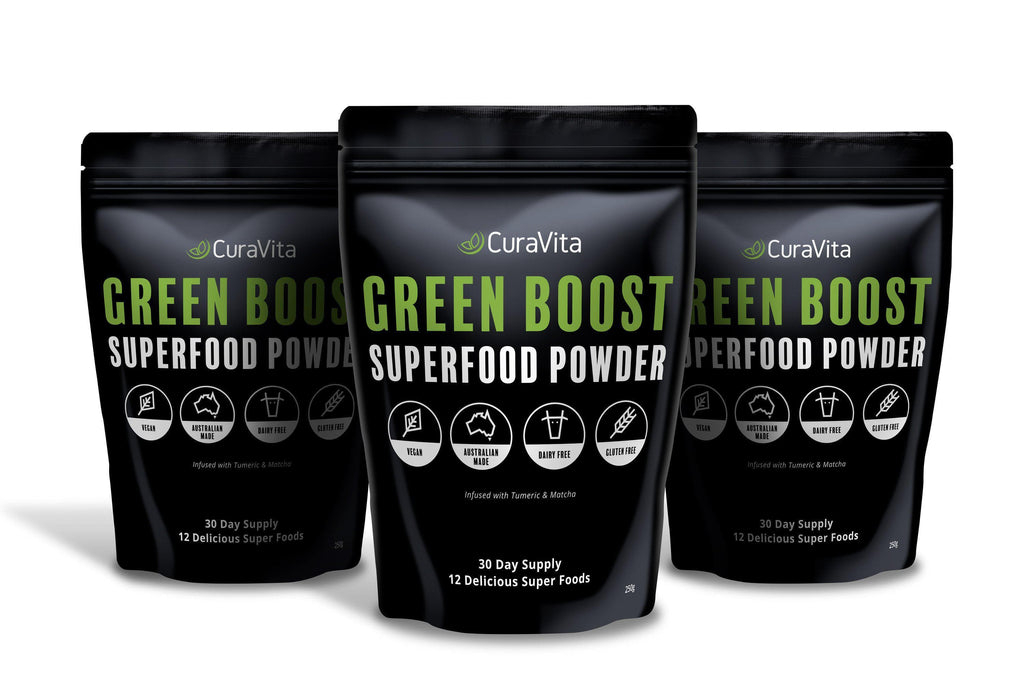 Curavita Organic Super Greens Powder - Raw Green Juice - 12 Delicious Ingredients