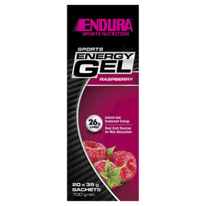 Endura Sports Energy Gel, Raspberry, 20 Sachets