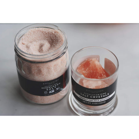 Image of Evolution Salt - Sole Himalayan Salt Drinking Solution Glass Jar & Crystals 12 oz Jar-Curavita