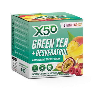 Green Tea X50 Green Tea & Resveratrol Assorted Flavour Energy Drink Powder 60 Sachets,-Curavita