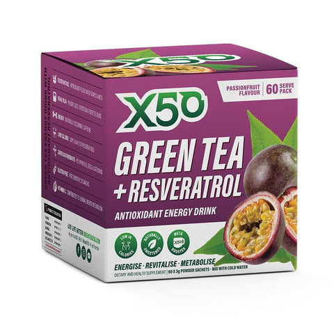 Image of Green Tea X50 Green Tea & Resveratrol Passionfruit Energy Drink Powder 60 Sachets-Curavita