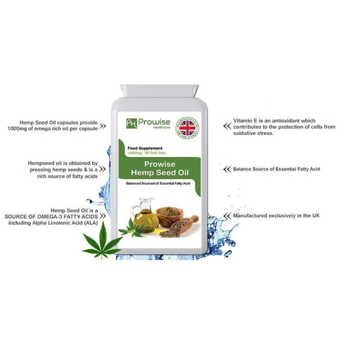 Image of Hemp seed Oil 1000mg 90 Soft Gels Capsules I Rich in Omega 3 & Omega 6 Fatty Acids I UK Manufactured to GMP Code of Practice by Prowise Healthcare-Curavita