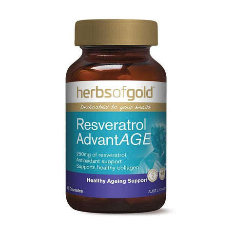 Herbs of Gold Resveratrol AdvantAge 60 Vege Capsules, 60 count-Curavita